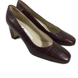 ETIENNE AIGNER Valencia Burgundy Leather Heels